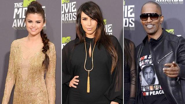 PHOTO:From left: Selena Gomez, Kim Kardashian, and Jamie Foxx, are shown on the red carpet at the MTV Movie Awards, April 14, 2013.