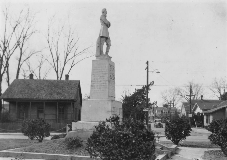 A February 1935 picture of Lafayette's statue memorializing Confederate General Alfred Mouton shows the monument surveilling a neighborhood that 12 years before had been claimed by the city's Board of Trustees as a whites only community in a racist zoning ordinance that left scars on the city's neighborhoods that remain today.