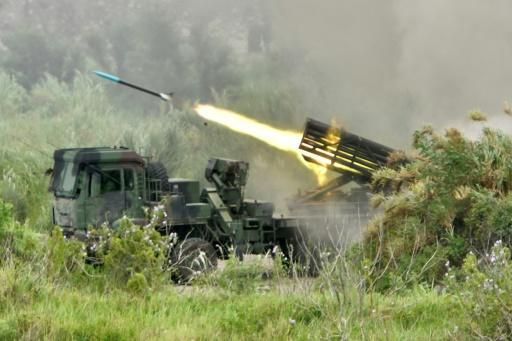 Taiwan also used some domestically made hardware during the exercises, including this Thunderbolt-2000 multiple rocket system