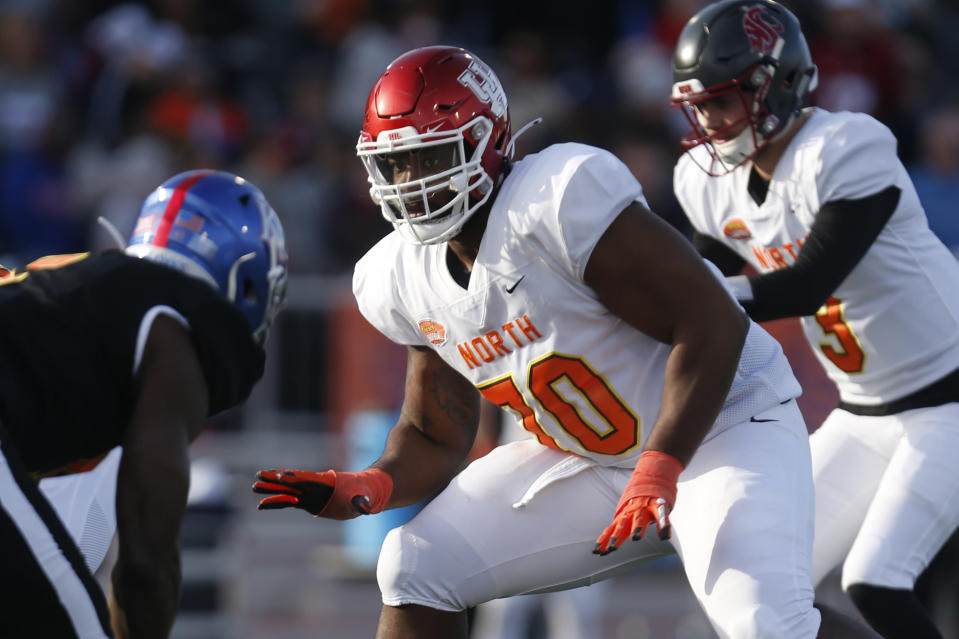 FILE - In this Jan. 25, 2020, file photo, North offensive tackle Josh Jones of Houston (70) plays during the second half of the Senior Bowl college football game in Mobile, Ala. Jones was selected by the Arizona Cardinals in the third round of the NFL football draft Friday, April 24, 2020. (AP Photo/Butch Dill)
