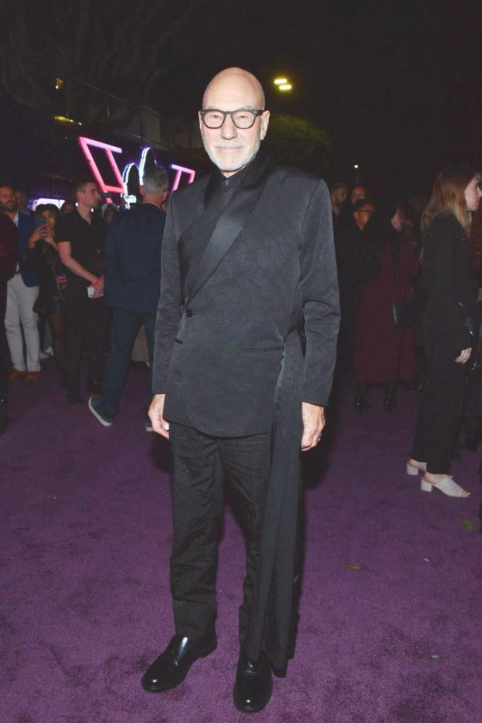 Patrick Stewart wearing a look from Kim Jones's fall 2019 Dior Men collection at the premiere of Charlie's Angels in Los Angeles, California on November 11, 2019.