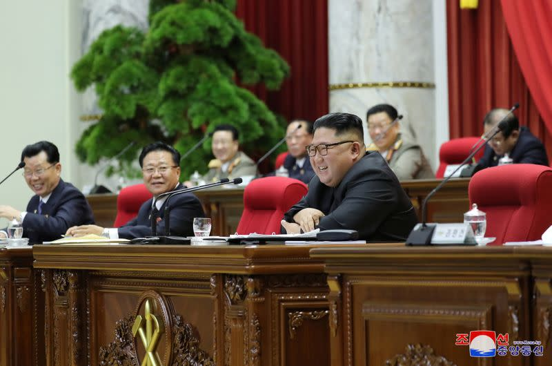 North Korean leader Kim Jong Un attends the 5th Plenary Meeting of the 7th Central Committee of the Workers' Party of Korea