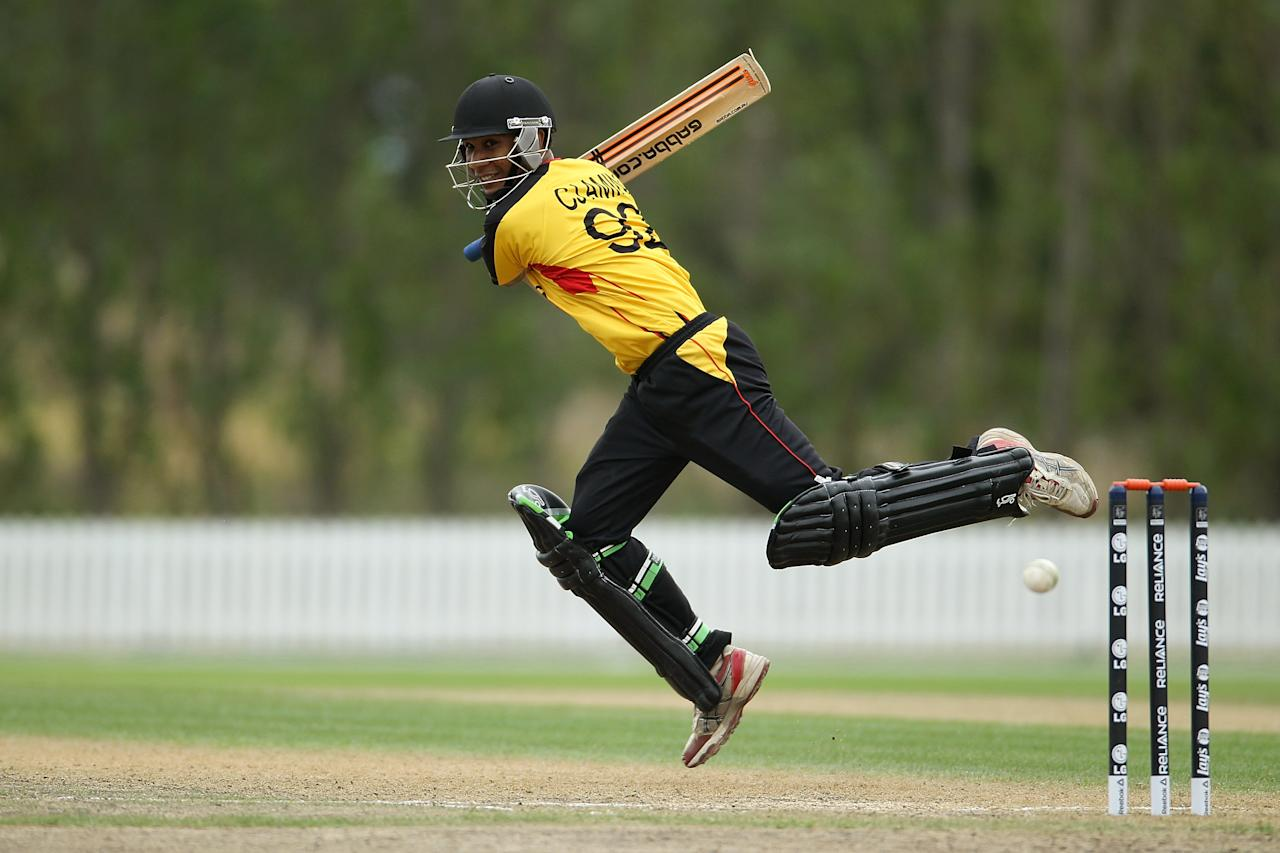 LINCOLN, NEW ZEALAND - JANUARY 30:  Charles Amini of Papua New Guinea bats during the ICC Cricket World Cup Qualifier Semi Final match between Papua New Guinea and Hong Kong at Bert Sutcliffe Oval on January 30, 2014 in Lincoln, New Zealand.  (Photo by Martin Hunter-IDI/IDI via Getty Images)