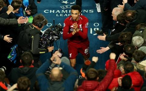 Trent Alexander-Arnold of Liverpool celebrates after the final whistle - Credit: Getty Images