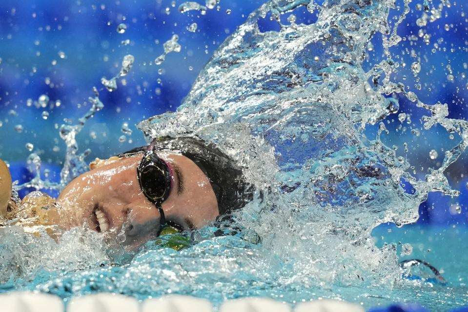 Emma Weyant participates in the Women's 400 Individual Medley during wave 2 of the U.S. Olympic Swim Trials on Sunday, June 13, 2021, in Omaha, Neb. (AP Photo/Charlie Neibergall)