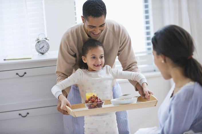 """<p>An oldie but a goodie, breakfast in bed is a great way for mom to kickstart her Mother's Day celebration. Make breakfast as a family while mom sleeps, then present it to her along with her<a href=""""https://www.womansday.com/relationships/family-friends/g1123/cheap-mothers-day-gifts/"""" rel=""""nofollow noopener"""" target=""""_blank"""" data-ylk=""""slk:Mother's Day gifts"""" class=""""link rapid-noclick-resp""""> Mother's Day gifts</a> and a <a href=""""https://www.womansday.com/life/g26960407/funny-mothers-day-cards/"""" rel=""""nofollow noopener"""" target=""""_blank"""" data-ylk=""""slk:funny Mother's Day card"""" class=""""link rapid-noclick-resp"""">funny Mother's Day card</a> to truly make her day a special one.</p>"""
