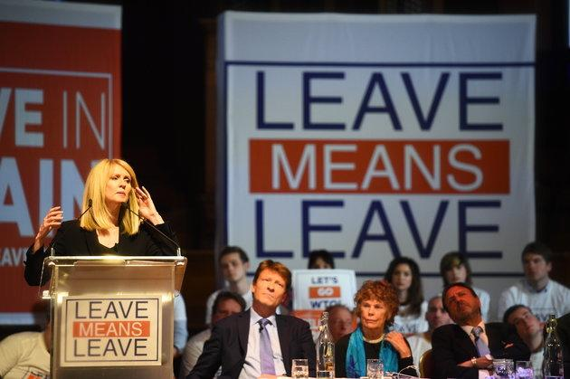 Former work and pensions secretary Esther McVey at a 'Leave Means Leave' rally