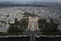 View from the third level and top of the Eiffel Tower of the Trocadero and the Defense business district in the background, during the opening up of the top floor of the Eiffel Tower, Wednesday, July 15, 2020 in Paris. The top floor of Paris' Eiffel Tower reopened today as the 19th century iron monument re-opened its first two floors on June 26 following its longest closure since World War II. (AP Photo/Francois Mori)
