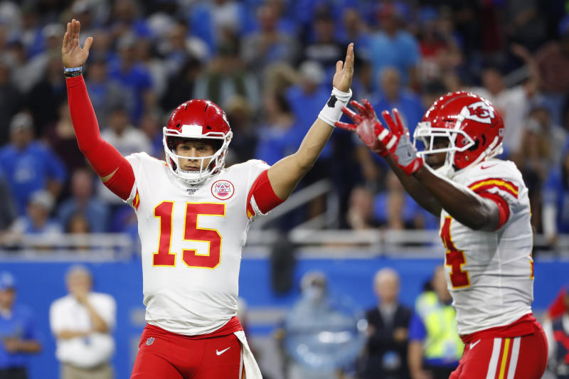 Kansas City Chiefs quarterback Patrick Mahomes (15) reacts after a touchdown during the first half of an NFL football game against the Detroit Lions, Sunday, Sept. 29, 2019, in Detroit. (AP Photo/Paul Sancya)