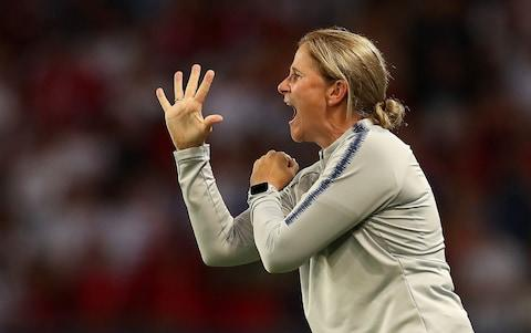 Jill coaches her team to victory against France in the Women's World Cup quarter finals - Credit: Fifa /Getty