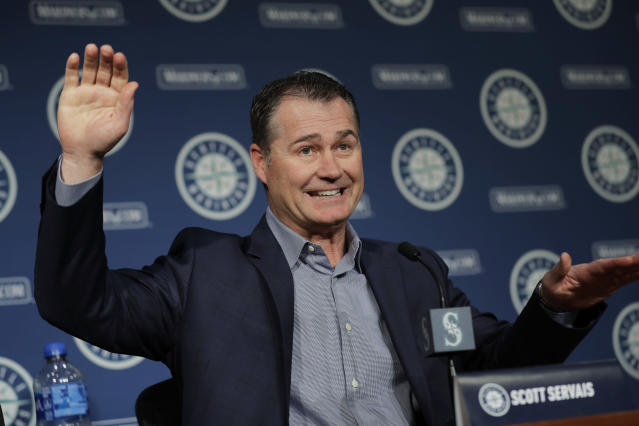 Seattle Mariners manager Scott Servais speaks Thursday, Jan. 23, 2020, in Seattle during the Seattle Mariners annual news conference before the start of Spring Training baseball. (AP Photo/Ted S. Warren)