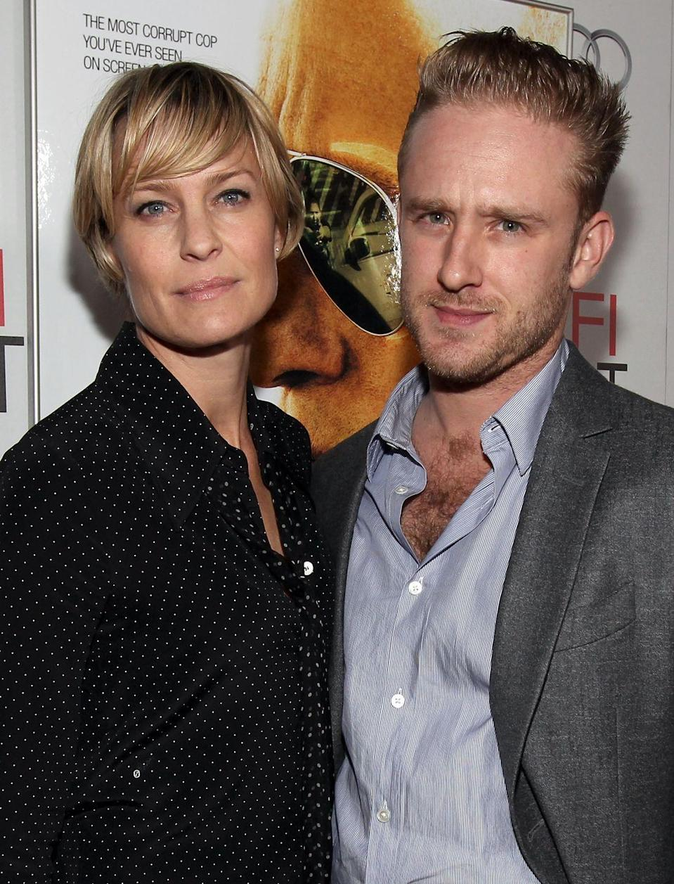 """<p>The former couple were on-and-off again since getting engaged in January 2014 and <a href=""""http://people.com/tv/ben-foster-and-robin-wright-end-engagement-again/"""" rel=""""nofollow noopener"""" target=""""_blank"""" data-ylk=""""slk:split for the second time"""" class=""""link rapid-noclick-resp"""">split for the second time</a> in August 2015. </p>"""