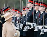 <p>Harry smiles at his grandmother, Queen Elizabeth II, during the Sovereign's Parade at Sandhurst Military Academy. <br></p>