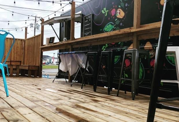 Grimross Brewing Company usually sets up its patio when the weather gets warm.