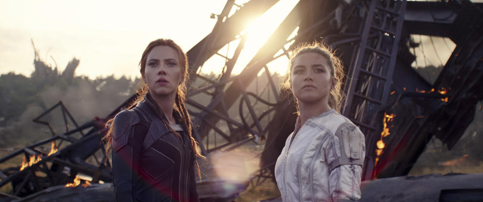 Scarlett Johansson, left, and Florence Pugh in a scene from Black Widow.