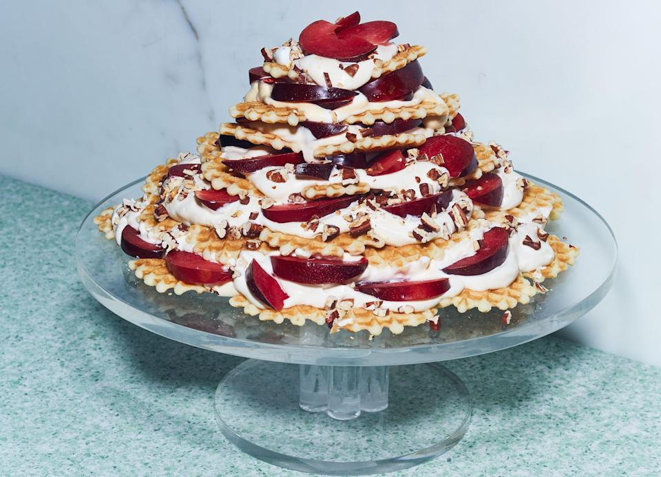 """Use any stone fruit you like, alone or in a combination. <a href=""""https://www.bonappetit.com/recipe/stone-fruit-ice-box-cake?mbid=synd_yahoo_rss"""" rel=""""nofollow noopener"""" target=""""_blank"""" data-ylk=""""slk:See recipe."""" class=""""link rapid-noclick-resp"""">See recipe.</a>"""
