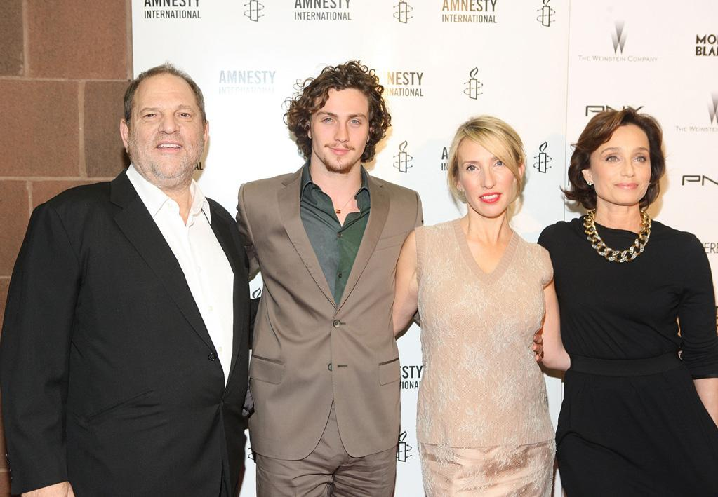 "<a href=""http://movies.yahoo.com/movie/contributor/1800088780"">Harvey Weinstein</a>, <a href=""http://movies.yahoo.com/movie/contributor/1808440454"">Aaron Johnson</a>, <a href=""http://movies.yahoo.com/movie/contributor/1809220578"">Sam Taylor-Wood</a> and <a href=""http://movies.yahoo.com/movie/contributor/1808836223"">Kristen Scott Thomas</a> attend the New York City premiere of <a href=""http://movies.yahoo.com/movie/1810073977/info"">Nowhere Boy</a> on September 21, 2010."