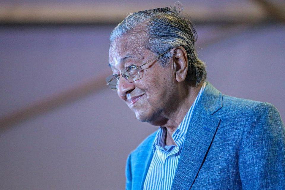 Tun Dr Mahathir Mohamad is pictured during the unveiling of Pejuang's candidate for the Slim by-election in Tanjung Malim August 12, 2020. — Picture by Hari Anggara