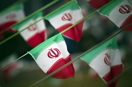 Iran's national flags are seen on a square in Tehran