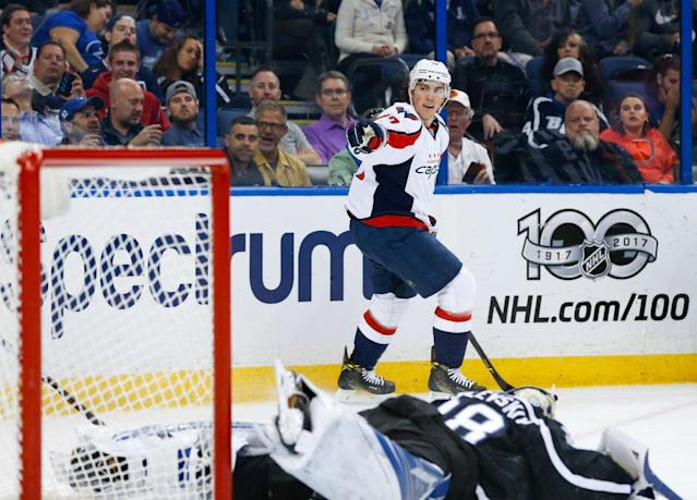 "TAMPA, FL – MARCH 18: <a class=""link rapid-noclick-resp"" href=""/nhl/players/3801/"" data-ylk=""slk:T.J. Oshie"">T.J. Oshie</a> #77 of the <a class=""link rapid-noclick-resp"" href=""/nhl/teams/was/"" data-ylk=""slk:Washington Capitals"">Washington Capitals</a> celebrates a goal against goalie <a class=""link rapid-noclick-resp"" href=""/nhl/players/5699/"" data-ylk=""slk:Andrei Vasilevskiy"">Andrei Vasilevskiy</a> #88 of the <a class=""link rapid-noclick-resp"" href=""/nhl/teams/tam/"" data-ylk=""slk:Tampa Bay Lightning"">Tampa Bay Lightning</a> during the first period at Amalie Arena on March 18, 2017 in Tampa, Florida. (Photo by Mark LoMoglio/NHLI via Getty Images)"