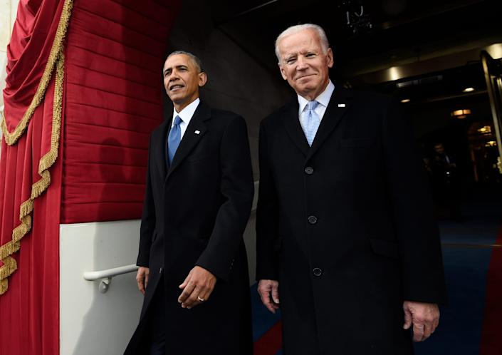 President Barack Obama and Vice President Joe Biden arrive Jan. 20, 2017, for the inauguration of Donald Trump at the U.S. Capitol in Washington.