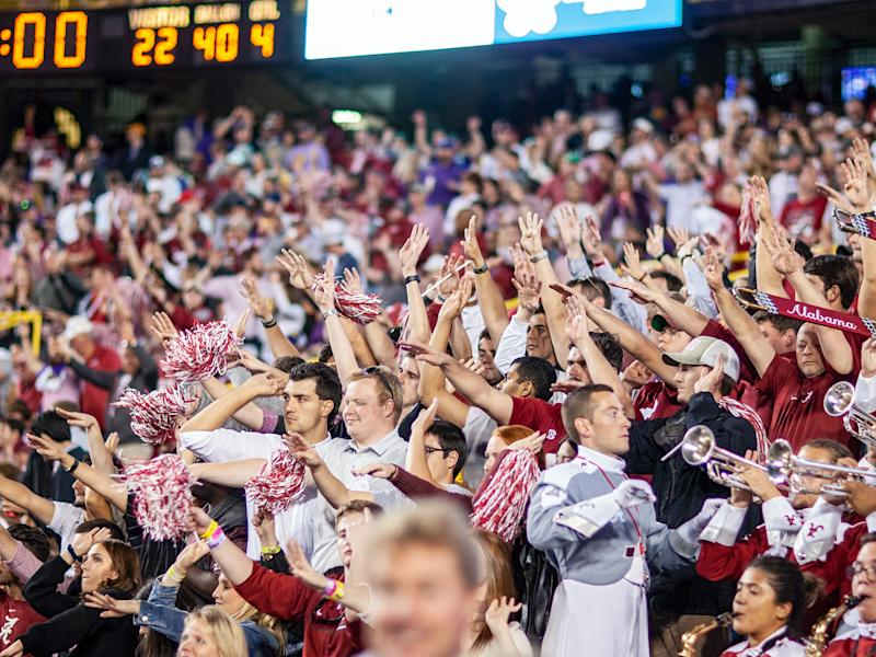 BATON ROUGE, LA - NOVEMBER 03: Alabama Crimson Tide fans cheer from the stands during a game between the LSU Tigers and Alabama Crimson Tide on November 3, 2018 at Tiger Stadium, in Baton Rouge, Louisiana. (Photo by John Korduner/Icon Sportswire via Getty Images)