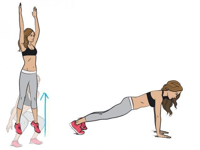 <p><strong>1/ </strong>Complete as many jumping squats as you can in 20 seconds. Rest for 10 seconds.</p><p>2/ Get into a plank and hold for 20 seconds. Rest for 10 seconds. </p>