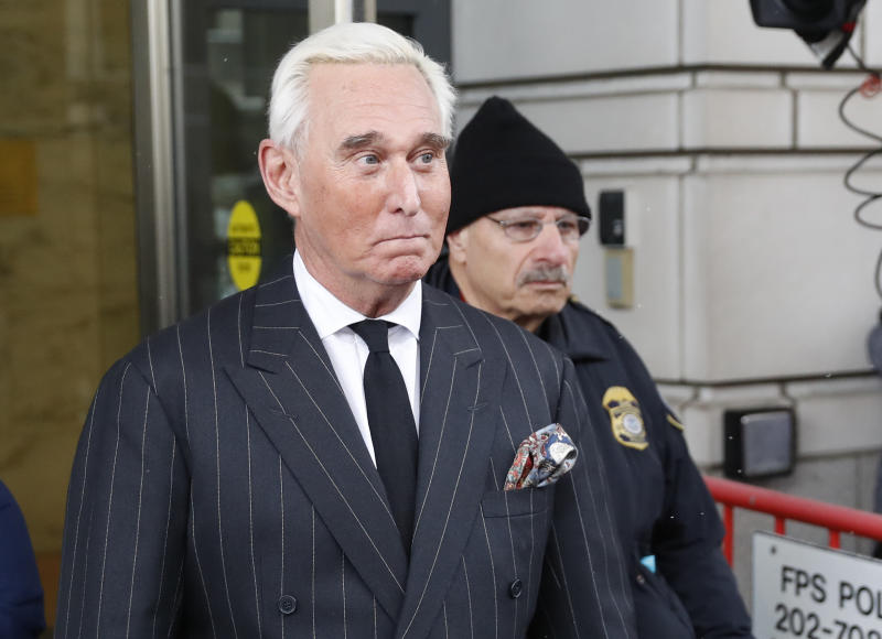 """Former campaign adviser for President Donald Trump, Roger Stone, leaves federal court in Washington, Friday, Feb. 1, 2019. Stone was back in court in the special counsel's Russia investigation as prosecutors say they have recovered """"voluminous and complex"""" potential evidence in the case, including financial records, emails and computer hard drives. (AP Photo/Pablo Martinez Monsivais)"""
