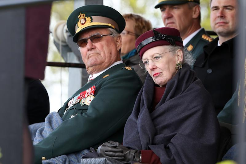 Danish Queen Margrethe II and her husband Prince Henrik (L) take part in the ceremony to mark the 150th anniversary of the Battle of Dybbol in Sonderborg, Denmark,18April 2014. 150 years ago, the Germans and Danes fought over Schleswig-Holstein. The war climaxed with the Battle of Dybbol. The anniversary on 18 April will be widely celebrated in Denmark. Photo: BODO MARKS/dpa | usage worldwide (Photo by Bodo Marks/picture alliance via Getty Images)