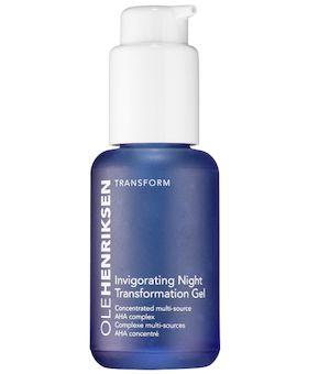 """Reduce the look of fine lines and wrinkles with <strong><a href=""""https://fave.co/2W1yBzg"""" target=""""_blank"""" rel=""""noopener noreferrer"""">Olehenriksen Invigorating Night Transformation Gel</a></strong>. This serum is formulated with microalgae and AHAs, like glycolic and lactic acids, for concentrated anti-aging and texture benefits.<br /><strong><a href=""""https://fave.co/2W1yBzg"""" target=""""_blank"""" rel=""""noopener noreferrer"""">Find it for $49 at Sephora.</a></strong>"""