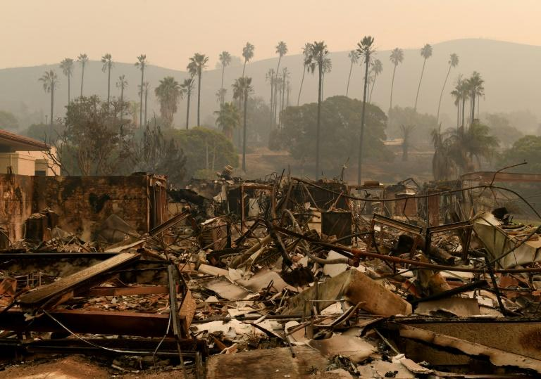 Trees are seen through the haze at the burned-out Vista del Mar Hospital after the Thomas wildfire swept through Ventura, California