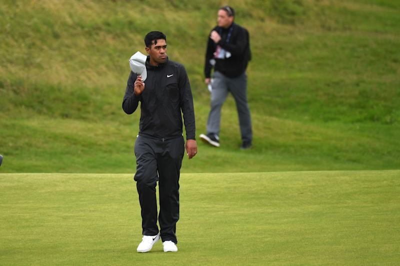 US golfer Tony Finau walks the fairway at the 18th hole during the final round of the British Open golf Championships at Royal Portrush golf club in Northern Ireland on July 21, 2019. (Photo by Andy BUCHANAN / AFP) / RESTRICTED TO EDITORIAL USE (Photo credit should read ANDY BUCHANAN/AFP/Getty Images)