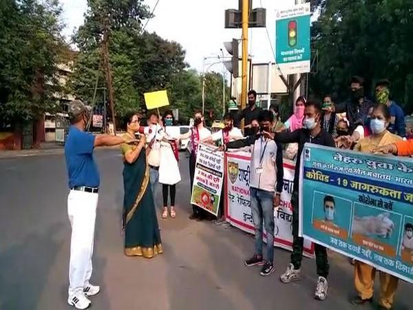 Visual from the COVID-19 campaign in Indore on Wednesday. Photo/ANI