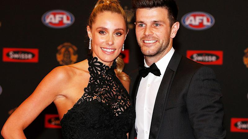 Brooke and Trent Cotchin, pictured here at the 2016 Brownlow Medal ceremony.
