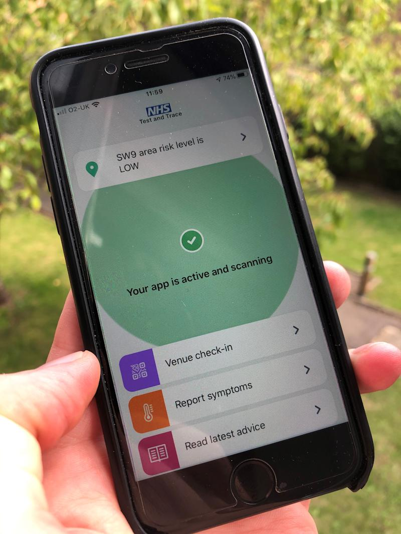 The long-delayed NHS Covid-19 app on a mobile phone. (PA)