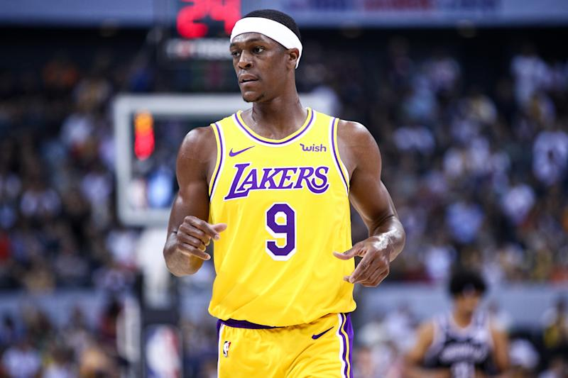 SHENZHEN, CHINA - OCTOBER 12: #9 Rajon Rondo of the Los Angeles Lakers looks on during the match against the Brooklyn Nets during a preseason game as part of 2019 NBA Global Games China at Shenzhen Universiade Center on October 12, 2019 in Shenzhen, Guangdong, China. (Photo by Zhong Zhi/Getty Images)