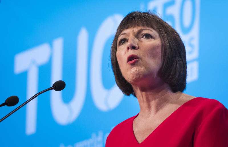 TUC General secretary Frances O'Grady, who said Theresa May had promised to help so-called just about managing families when she entered Downing Street, addresses the TUC Congress in Manchester.