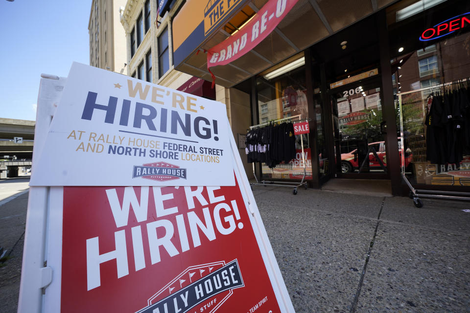 Jobs are available at the Rally House on Pittsburgh's Northside on June 14, 2021. (AP Photo/Gene J. Puskar)
