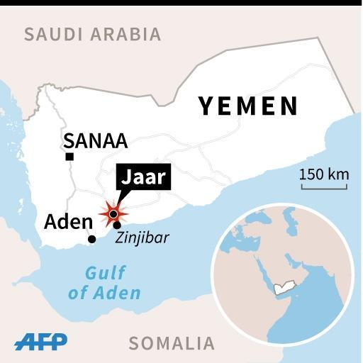 Map of Yemen locating Jaar, where Al-Qaeda fighters and pro-government forces fought for control of the strategic town (45 x 45 mm) (AFP Photo/)
