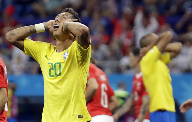 Brazil's Roberto Firmino gestures during the group E match between Brazil and Switzerland at the 2018 soccer World Cup in the Rostov Arena in Rostov-on-Don, Russia, Sunday, June 17, 2018. (AP Photo/Felipe Dana)