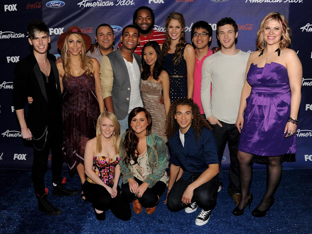 LOS ANGELES, CA - MARCH 01:  Final 13 contestants (L-R, front row) Hollie Cavanaugh, Skylar Laine and DeAndre Brackensick, (L-R, standing) Colton Dixon, Elise Testone, Jeremy Rosado, Joshua Ledet, Jermaine Jones, Jessica Sanchez, Shannon Magrane, Heejun Han and Phillip Phillips arrive at Fox's American Idol finalist party at The Grove on March 1, 2012 in Los Angeles, California.  (Photo by Kevin Winter/Getty Images)
