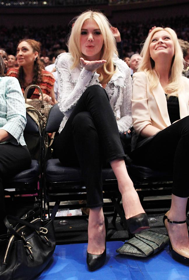 Kate Upton blows a court-side kiss at the Knicks and Clippers game at Madison Square Garden in 2012.