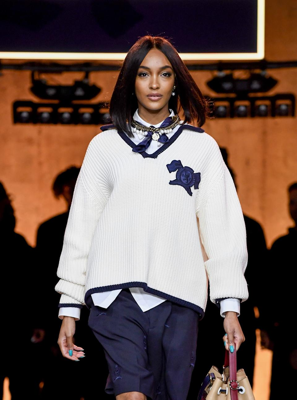 Jourdan Dunn walks the runway at the Tommy Hilfiger show during London Fashion Week. (Getty Images)