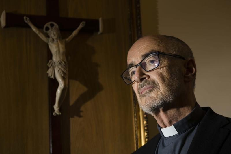 In this photo taken Friday, Sept. 27, 2019, Michael Czerny, one of the 13 newest cardinals who will be elevated during a formal ceremony at the Vatican on Saturday, Oct. 5, 2019, poses for portraits during an interview with The Associated Press at The Vatican. Czerny is among 13 men Pope Francis admires, resembles and has chosen to honor as the 13 newest cardinals who will be elevated at a formal ceremony, Saturday, Oct. 5, 2019.  (AP Photo/Domenico Stinellis)