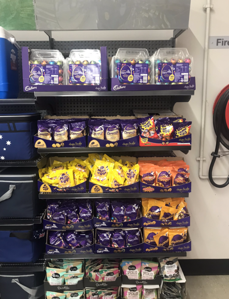 An easter display featuring mini eggs. Source: Twitter