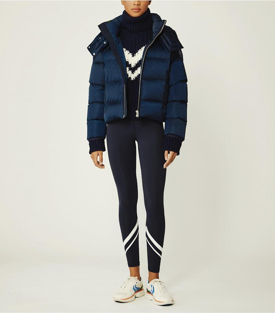 <p>Cold weather calls for this <span>Tory Sport Cropped Performance Satin Down Jacket</span> ($428).</p>