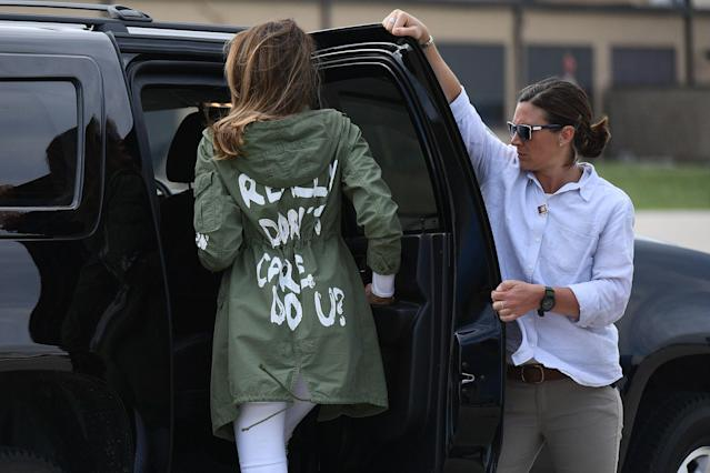 Melania Trump's jacket has sparked controversy. (Photo: Mandel Ngan/AFP/Getty Images)