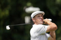 Bryson DeChambeau watches his shot from the second tee during the first round of the Tour Championship golf tournament Thursday, Sept. 2, 2021, at East Lake Golf Club in Atlanta. (AP Photo/Brynn Anderson)