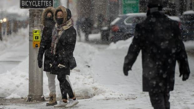 Two mask-wearing pedestrians wait at an intersection on Laurier Ave. W. in Ottawa during a snowstorm on Feb. 19, 2021.