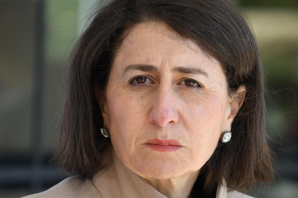 A close up photo of The Honourable Gladys Berejiklian MP, Premier of New South Wales giving a COVID-19 update at a media conference in the suburb of St Leonards on July 06, 2021 in Sydney, Australia
